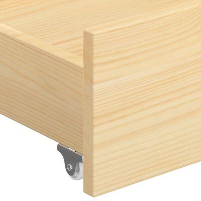 vidaXL Sängram med 2 lådor massiv furu 140x200 cm