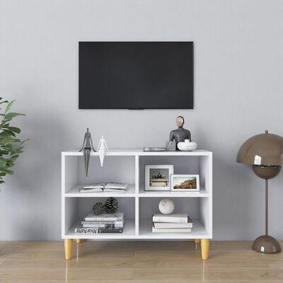 vidaXL TV-bänk med massiva ben vit 69,5x30x50 cm