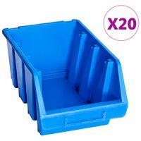 vidaXL Staplingsbara sortimentaskar 20 st blå plast