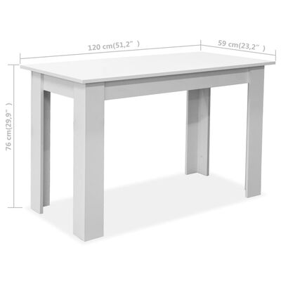 vidaXL Matbord och bänkar 3 delar spånskiva vit