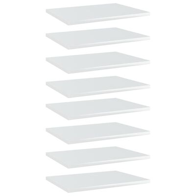 vidaXL Hyllplan 8 st vit högglans 40x30x1,5 cm spånskiva