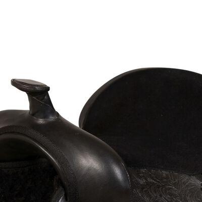 "vidaXL Westernsadel träns&halsband äkta läder 16"" svart"