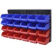 Väggmonterade förvaringshyllor för garageverktyg 2 st blå & röda