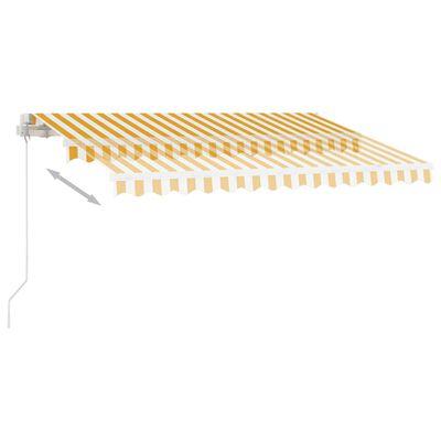 vidaXL Markis manuellt infällbar med LED 350x250 cm gul och vit