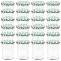 vidaXL Syltburkar i glas med vita och gröna lock 24 st 400 ml