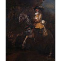 Portrait of Frederick Rihel on Horseback,REMBRANDT,50x40cm