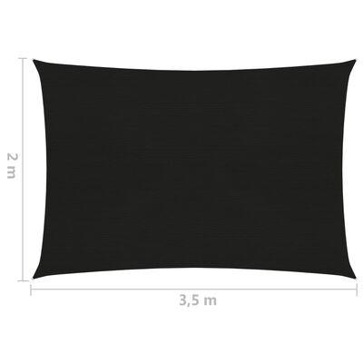 vidaXL Solsegel 160 g/m² svart 2x3,5 m HDPE
