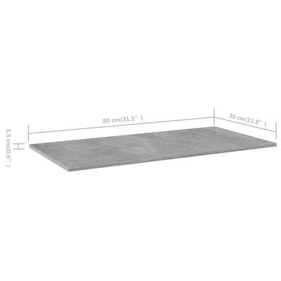 vidaXL Hyllplan 8 st betonggrå 80x30x1,5 cm spånskiva