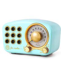 Bluetooth-högtalare / FM radio i retrodesign, med Aux-kabel, Blå