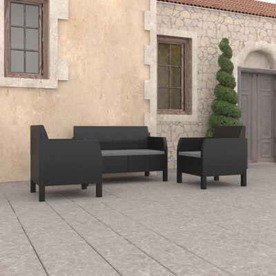 vidaXL Loungegrupp för trädgården 3 delar med dynor PP antracit