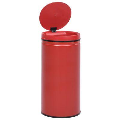 vidaXL Soptunna med automatisk sensor 70 L kolstål röd