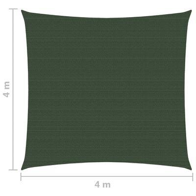 vidaXL Solsegel 160 g/m² mörkgrön 4x4 m HDPE