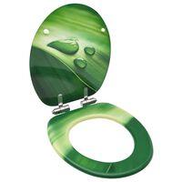 vidaXL Toalettsits med mjuk stängning MDF vattendroppar grön