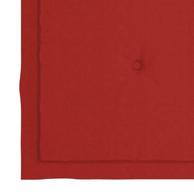 vidaXL Matstolar 6 st med dynor röd massiv teak