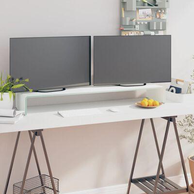 vidaXL TV-bord glas vit 110x30x13 cm