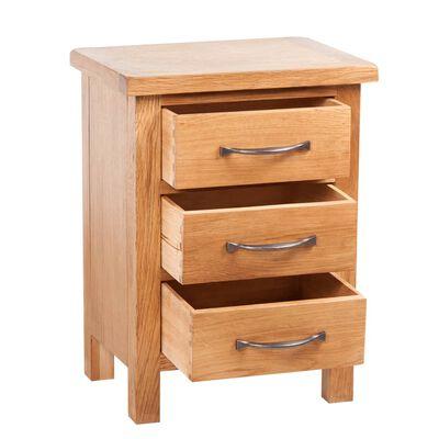 vidaXL Sängbord med 3 lådor 40x30x54 cm massiv ek