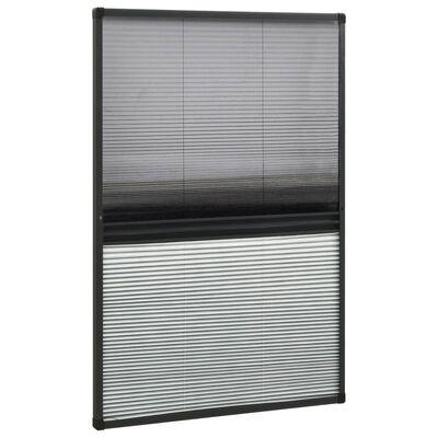 vidaXL Plisserat insektsnät med jalusi för fönster 110x160 cm aluminium