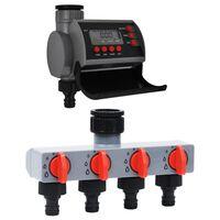 vidaXL Bevattningstimer med ett uttag och vattenfördelare