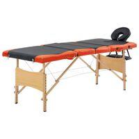 vidaXL Hopfällbar massagebänk 4 sektioner trä svart och orange