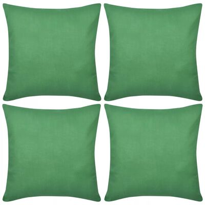 4 Kuddöverdrag i bomull gröna 50 x 50 cm