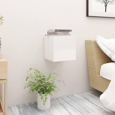 vidaXL Sängbord vit högglans 30,5x30x30 cm spånskiva