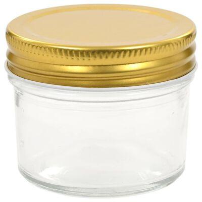 vidaXL Syltburkar i glas med guldfärgade lock 48 st 110 ml