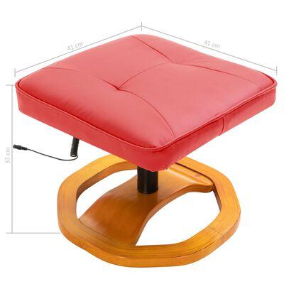 vidaXL Massagestol med fotpall konstläder röd