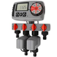 42352 vidaXL Automatisk bevattningstimer med 4 stationer 3 V