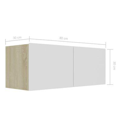 vidaXL TV-bänk vit och sonoma-ek 80x30x30 cm spånskiva