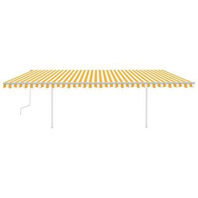 vidaXL Markis med LED manuellt infällbar 6x3,5 m gul och vit
