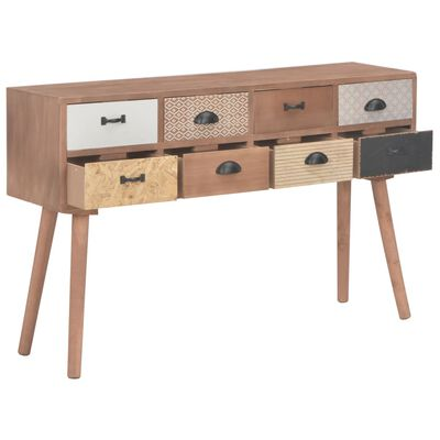 vidaXL Konsolbord med 8 lådor 120x30x76 cm massiv furu