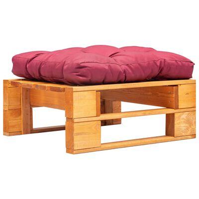 vidaXL Pallottoman med röda dynor honungsbrun trä