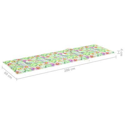 vidaXL Solsängsdyna bladmönster 200x60x4 cm tyg