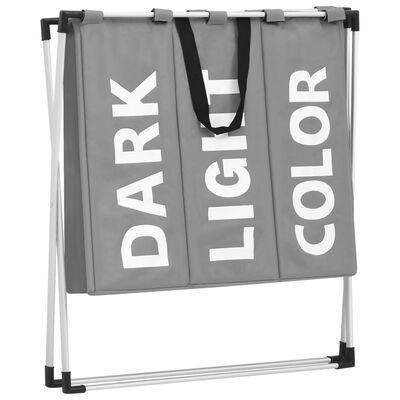 vidaXL Tvättsorterare 3 fack grå