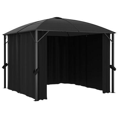 vidaXL Paviljong med draperier 300x300x265 cm antracit