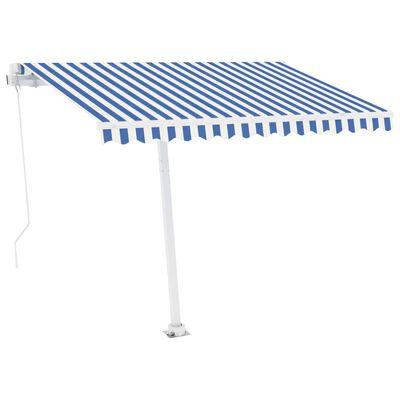 vidaXL Markis manuellt infällbar med LED 300x250 cm blå och vit