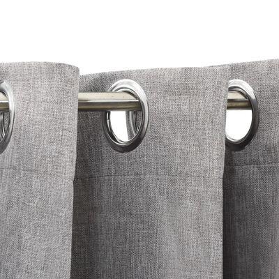 vidaXL Mörkläggningsgardin med öljetter linnelook 2 st grå 140x225cm