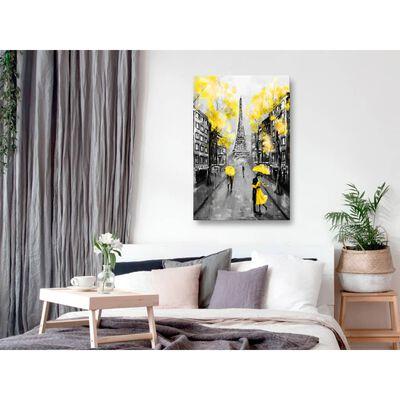Tavla - Paris Rendez-vous (1 Part) Vertical Yellow - 80x120 Cm