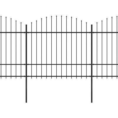 vidaXL Trädgårdsstaket med spjuttopp stål (1,5-1,75)x13,6 m svart