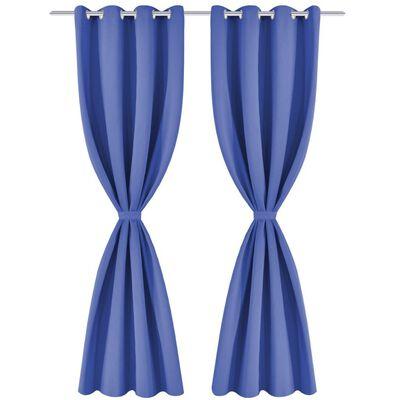 vidaXL Mörkläggningsgardiner 2 st med öljetter 135x175 cm blå