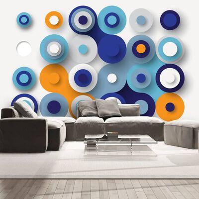 Fototapet - Geometry Of Blue Wheels - 100x70 Cm,