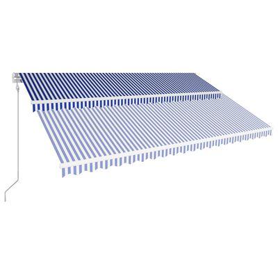 vidaXL Markis automatiskt infällbar 500x300 cm blå och vit