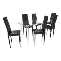Matbord i glas med 6 st svarta slimmade stolar
