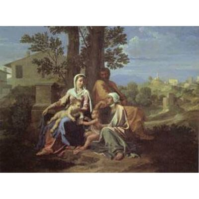 The Holy Family in a Landscape,Nicolas Poussin,50x40cm