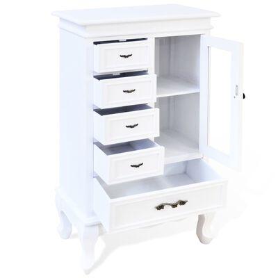 vidaXL Skåp med 5 lådor och 2 hyllor vit
