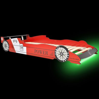 vidaXL LED Barnsäng racerbil 90x200 cm röd