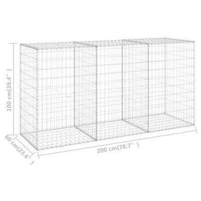 vidaXL Gabionmur i galvaniserat stål 200x60x100 cm
