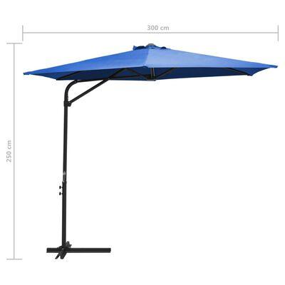vidaXL Trädgårdsparasoll med stålstång 300 cm azurblå