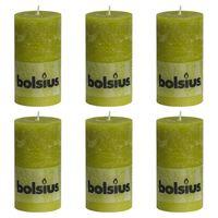 Bolsius Rustika blockljus 6 st 130x68 mm mossgrön