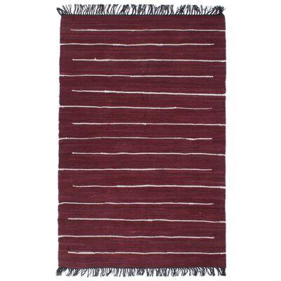 vidaXL Handvävd matta Chindi bomull 120x170 cm vinröd